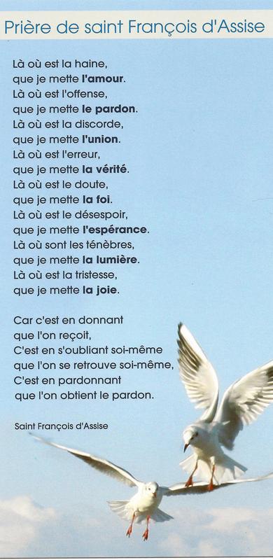 Fabuleux PRIERE DE SAINT FRANCOIS D'ASSISE - Librairie et Art Religieux  NV53